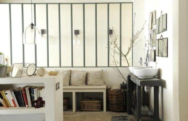Demi verri re sur all ge ma onn e pour banc avec vitrage opaque verri res - Verriere opaque salle de bain ...