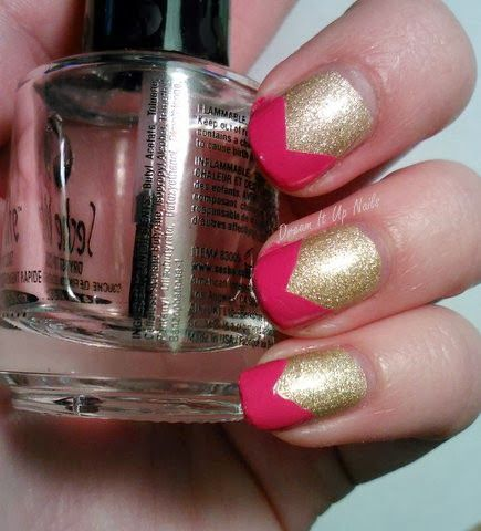 Dream It Up Nails: Pink/Gold Chevron-Tipped Nails using OPI Hey Baby and OPI Love.Angel.Music.Baby. from the 2014 Gwen Stefani Collection