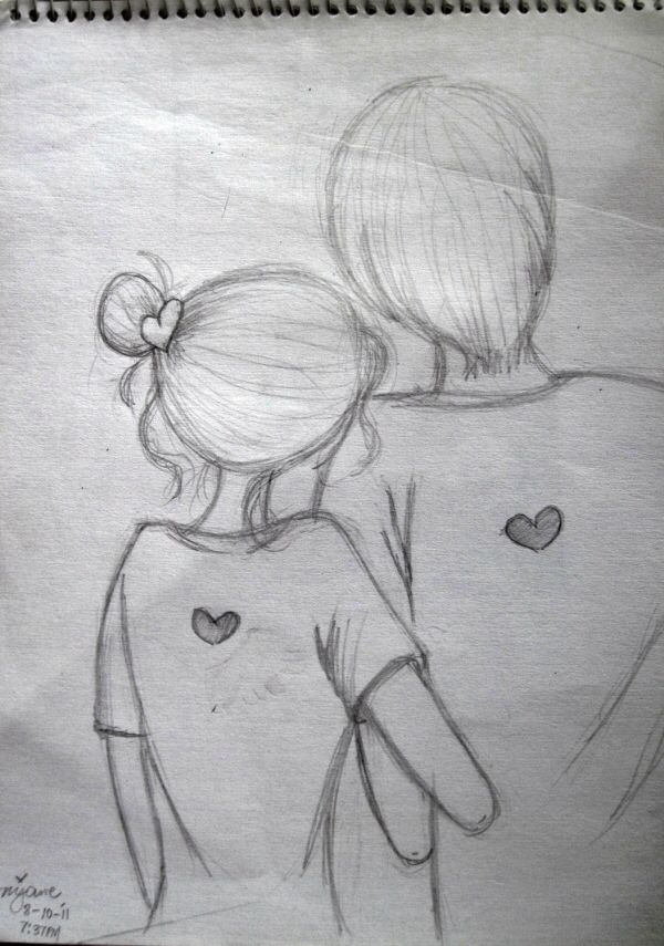 Easy pencil sketch of couples