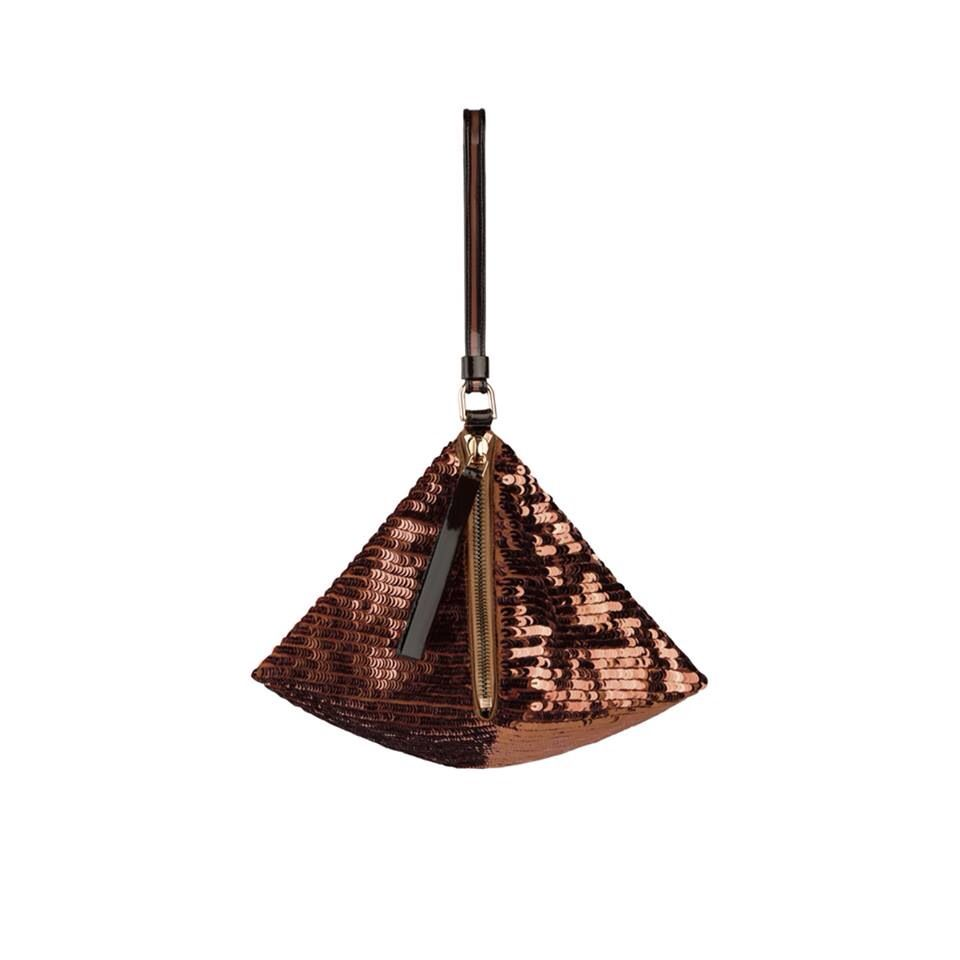 Givenchy Windsor Brown triangle clutch with sequin embroideries on satin backed organza