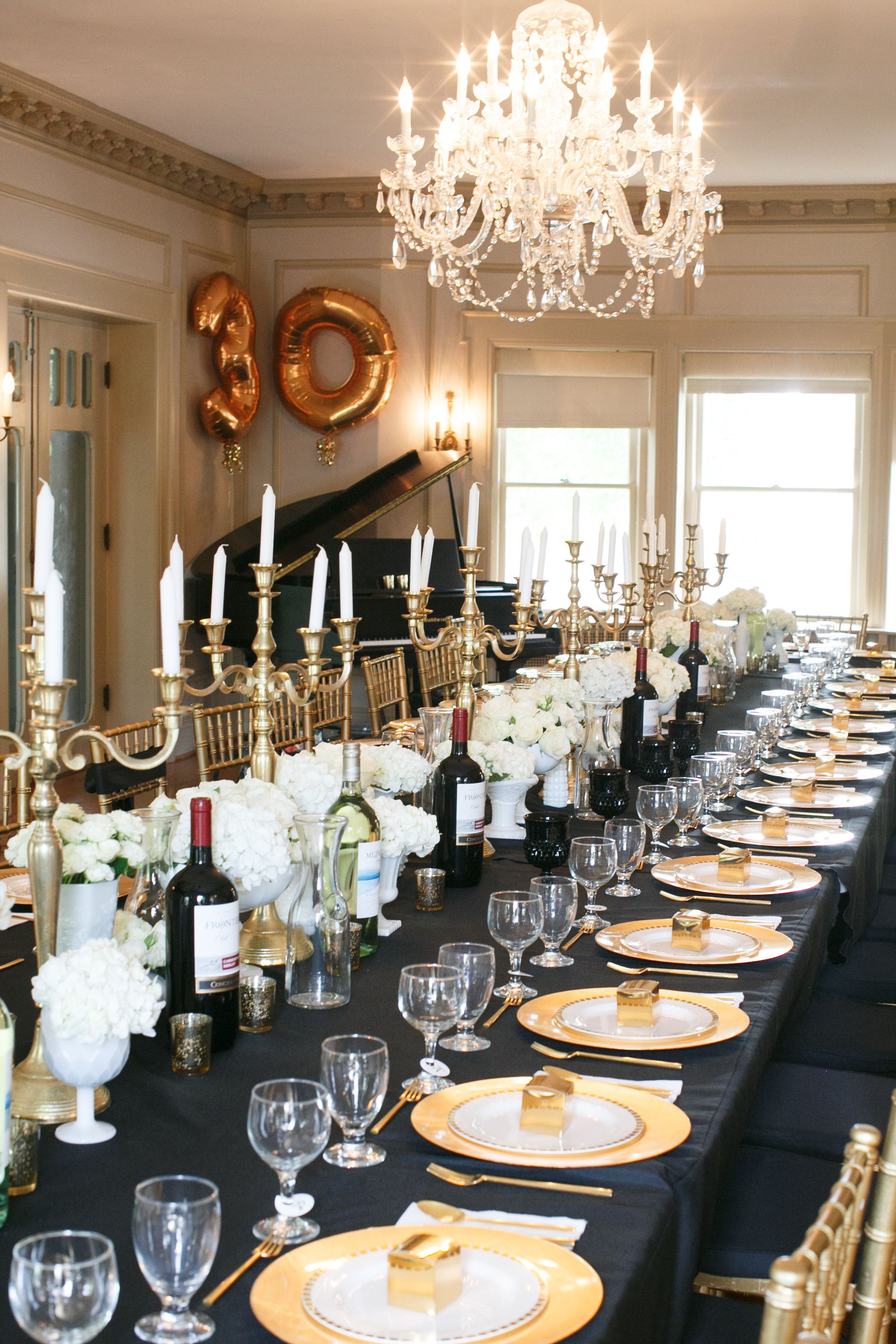 Black gold white all over a classy grown up for 30th birthday party decoration