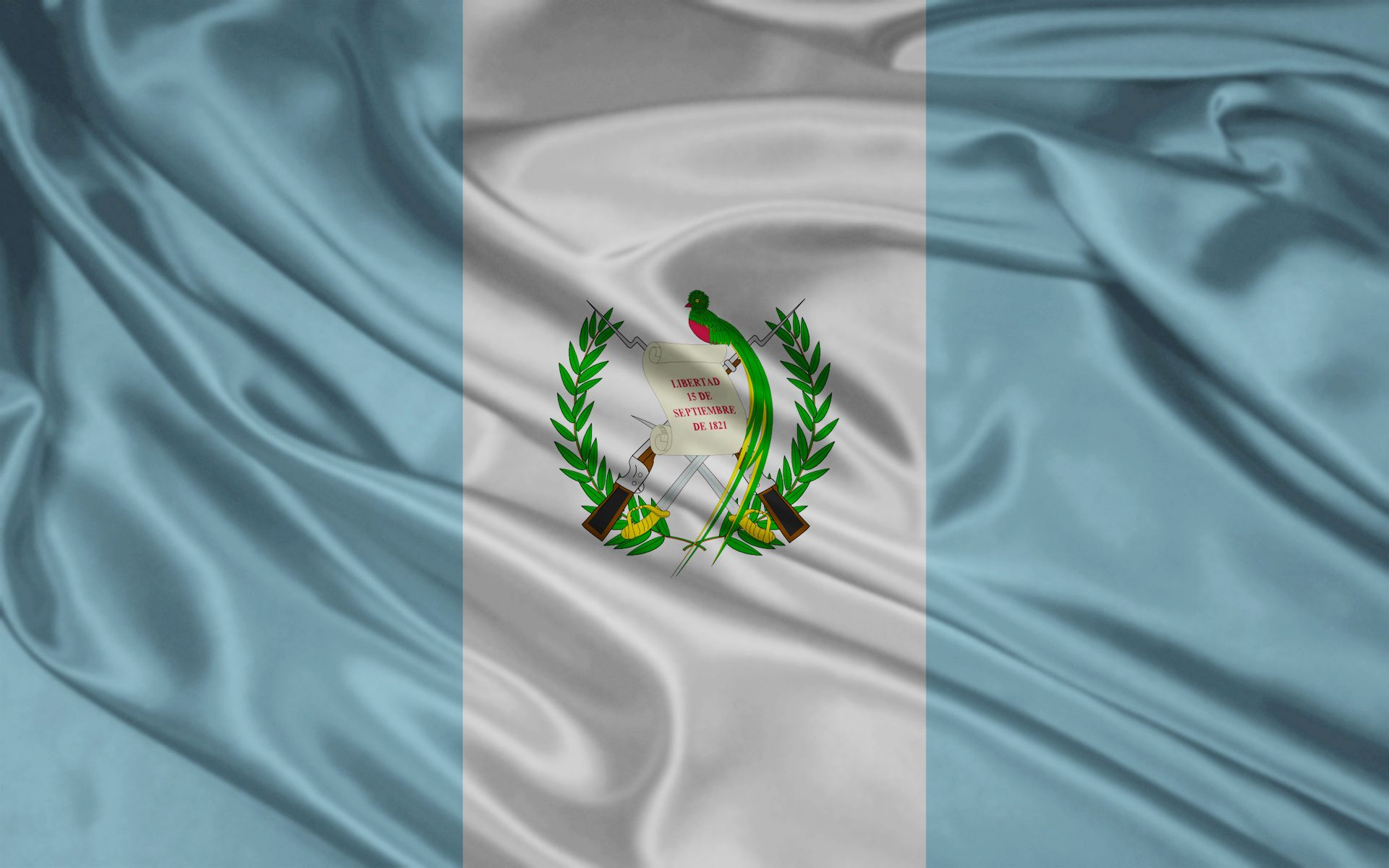The inside of the flag, the white portion, resembles peace. (The date says Liberty; September 15, 1821.) The two outer blue sides represent that the country of Guatemala has an ocean on each side of it, the Atlantic and the Pacific Oceans. The shade of the blue sides, however, have been changed many times for no reason.