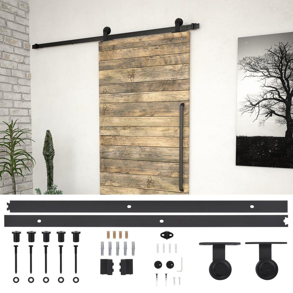 vida XL sliding door fitting set 183 cm steel black