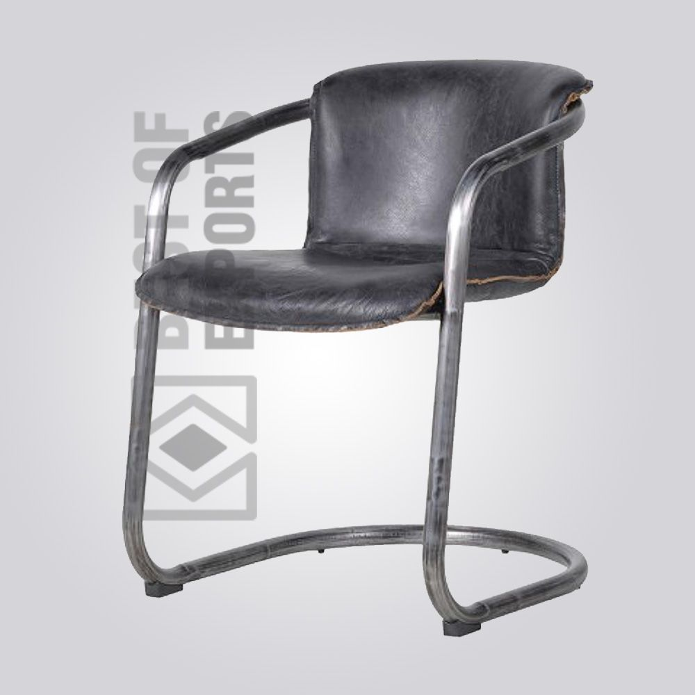 Arm Chair With Black Leather Seat Material Ms Steel Upholstery Chairs Vintagechairs Vintagefurniture
