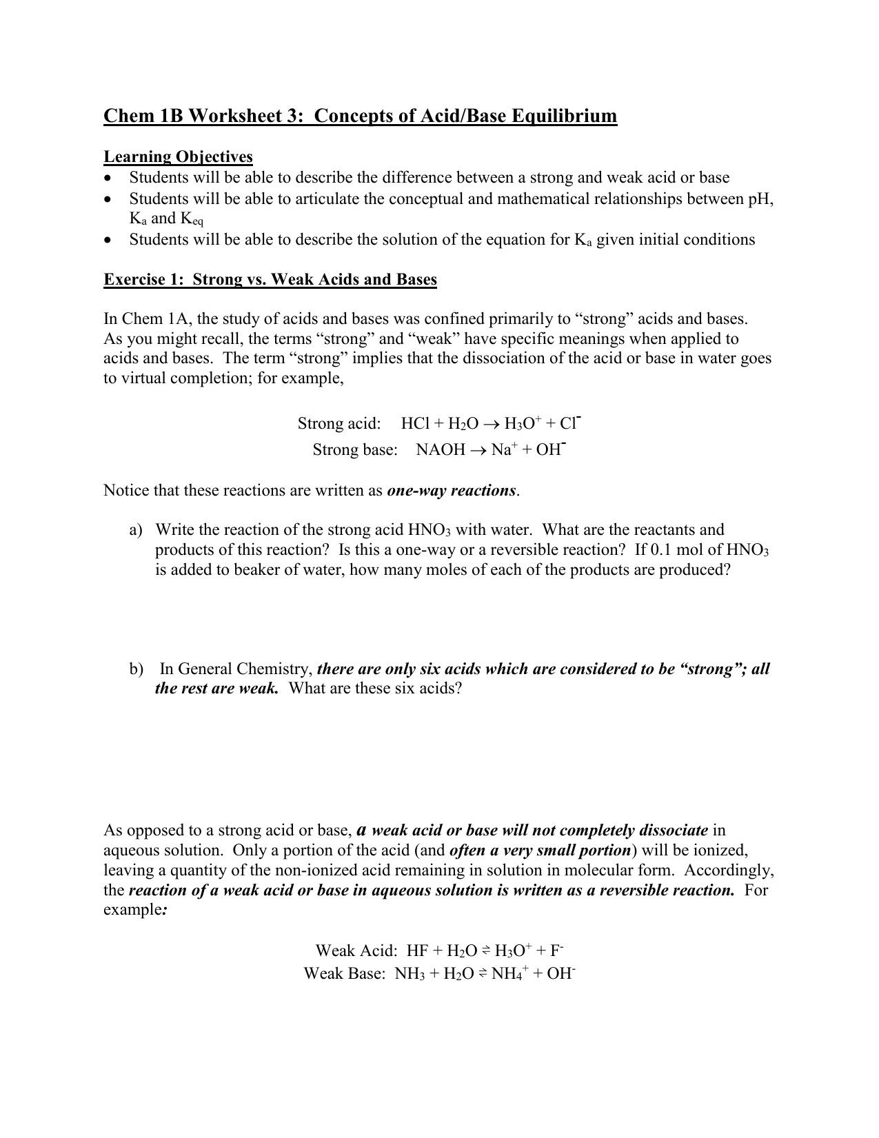 Classified Naming Acids and Bases Worksheet Answers