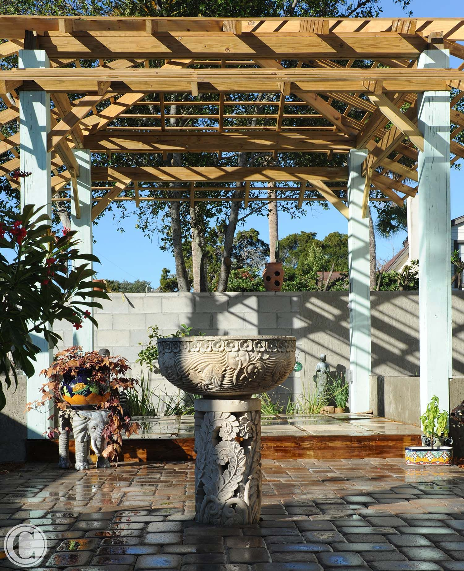 Pergola In Private Outdoor Prayer Garden, Fountain Is Balinese   Cornelius Construction  Company