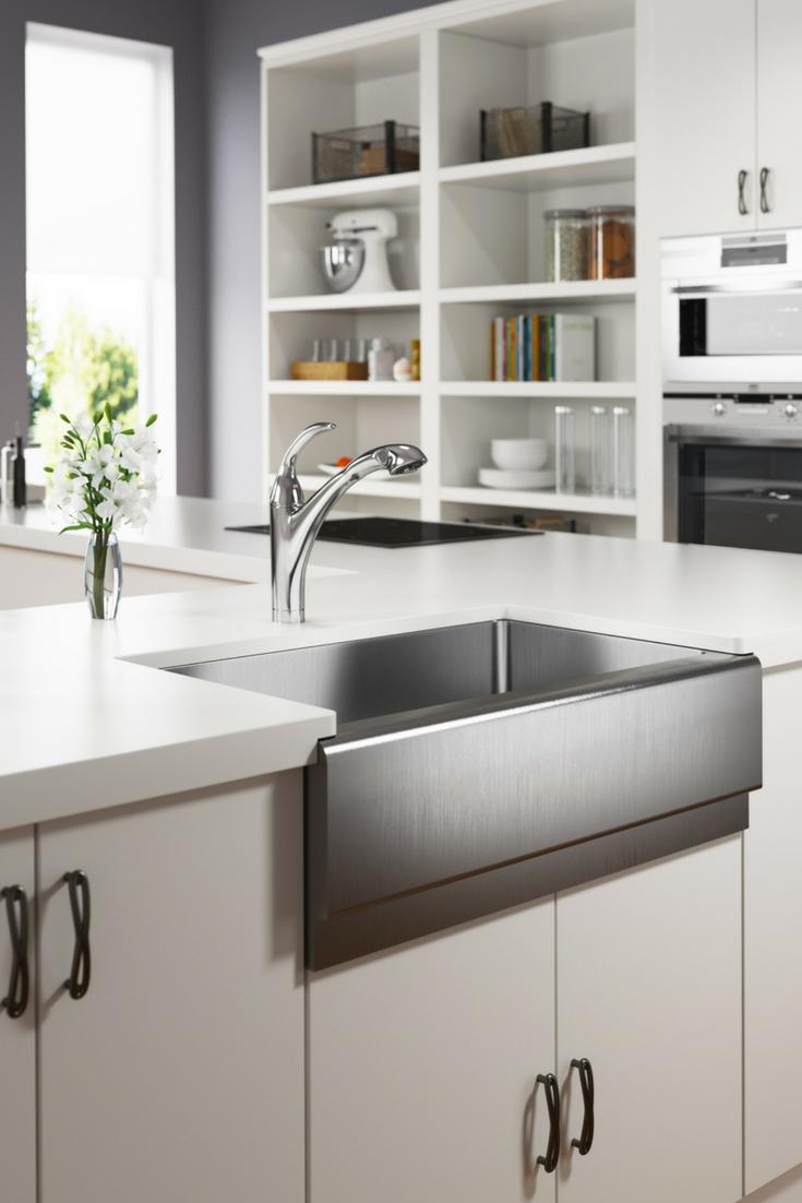 405 Single Bowl Stainless Steel Apron Sink Modern Kitchen Set Kitchen Remodel Small Modern Kitchen