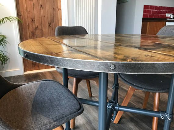 round industrial dining table with pipe legs handmade by trendless rh pinterest com