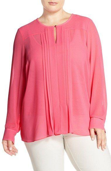 97e0416f78cbb Ellen Tracy Keyhole Neck Pleat Front Blouse (Plus Size)