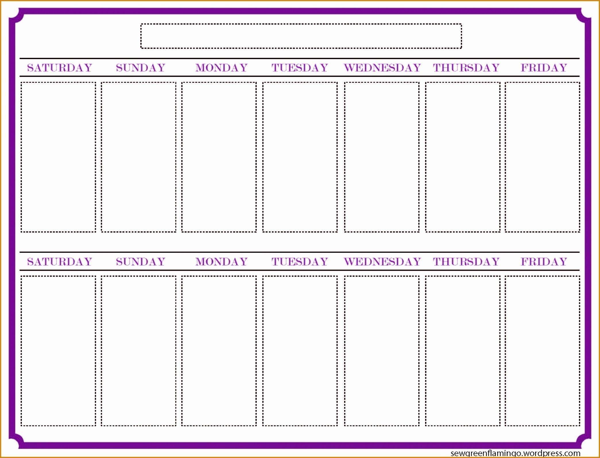 2 Week Blank Calendar Printable Template Calendar Design Catch