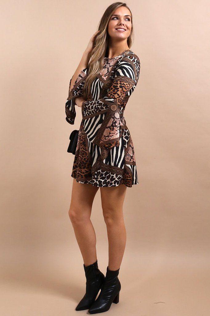 d6ff78c328f Ann-Marie Animal Print Flute Sleeve Dress | New Arrivals | Virgo Boutique |  Dresses, Fashion, Skater style