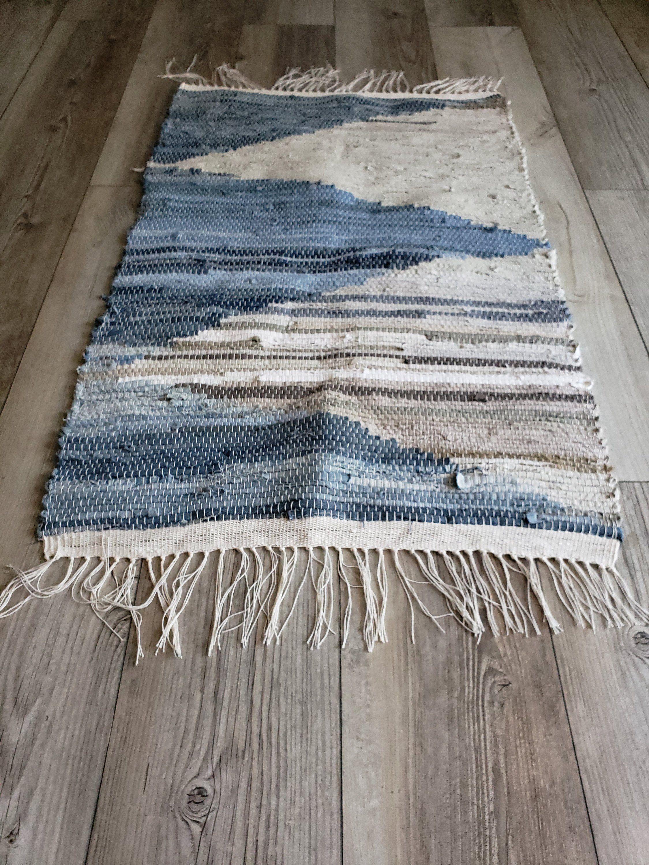 Denim And Khaki Arrows Handwoven Rag Rug Floor Runner Kitchen In 2020 Rag Rug Denim Rug Denim Rag Rugs