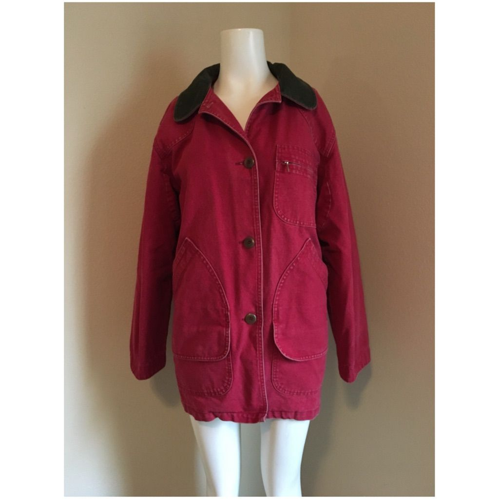 Vintage Distressed L.L. Bean Red Field Coat Lined