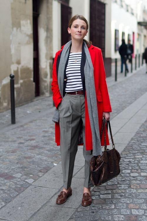navy stripped shirt tucked gray skirt, red blazer, brown peep toe sandals, blue pashmina