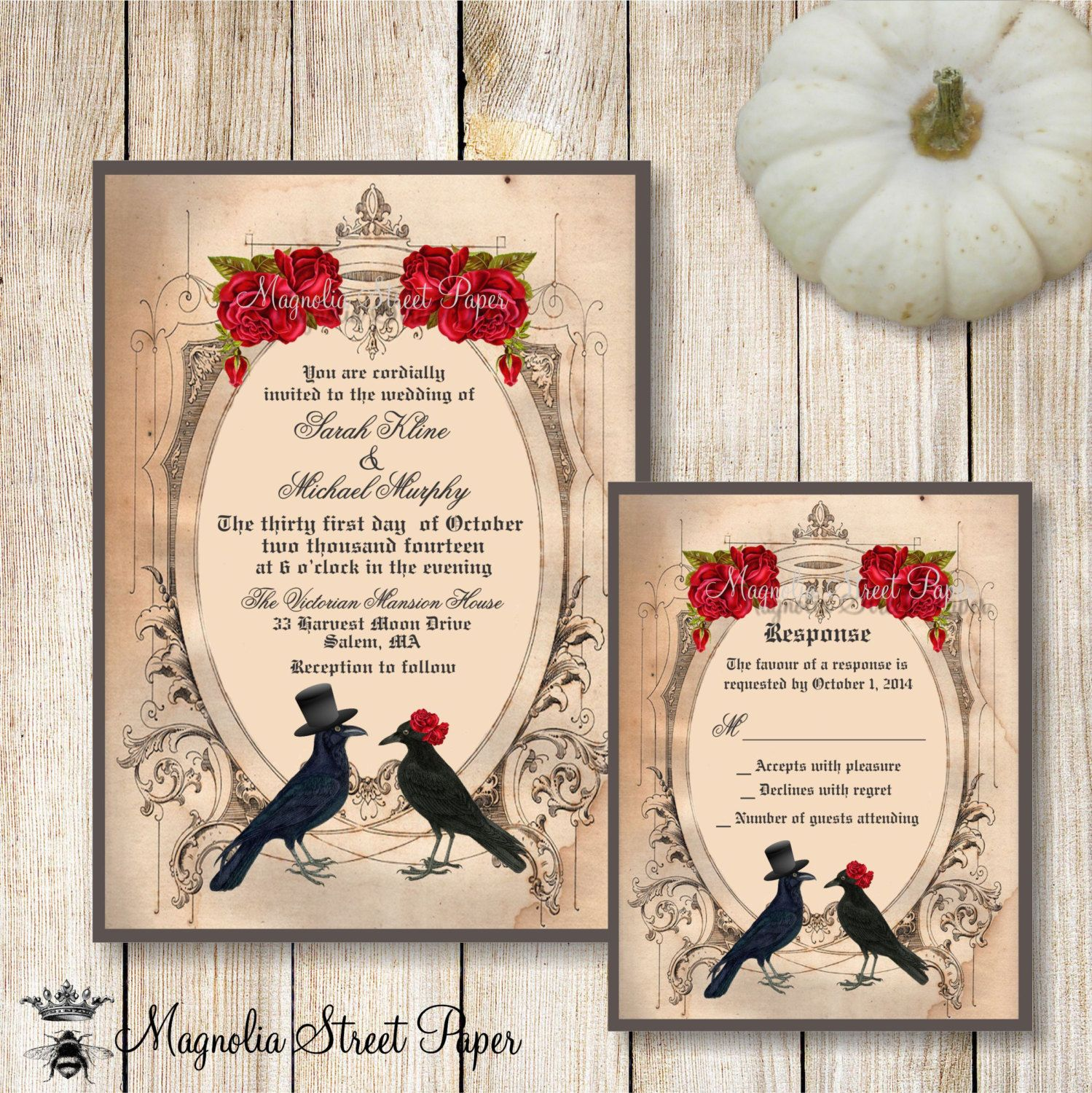 wedding invitation rsvp what does m mean%0A Halloween Wedding Invitation  Goth Wedding Invite  Crow Wedding Invitation   Raven Wedding Invitation  Printable Wedding Invite and RSVP