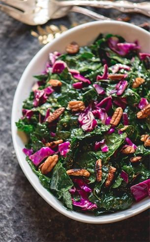 Kale and Red Cabbage Salad with Pecans.