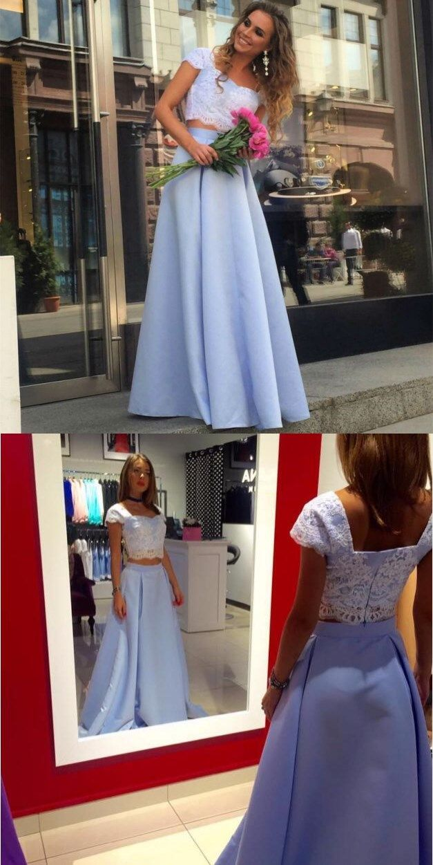 47219fcd4df Cheap Prom Dresses Elegant Lace Crop Top Satin Two Piece Hot Sale Formal  Evening Gowns Light Blue Floor Length Satin Party Dress