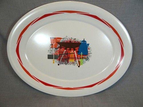 Vintage Mid-Century 1950\u0027s - 60\u0027s BBQ Barbecue Lg. Picnic Serving Tray   eBay & Vintage Mid-Century 1950\u0027s - 60\u0027s BBQ Barbecue Lg. Picnic Serving ...