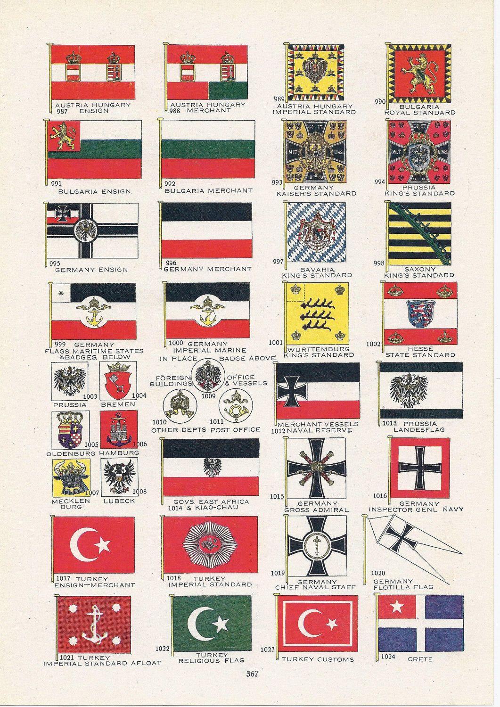 World Flags Vintage Illustration Austria Hungary Germany Bulgaria Prussia Turkey Bavaria World War I Era Flags Of The World Flag Vintage Illustration