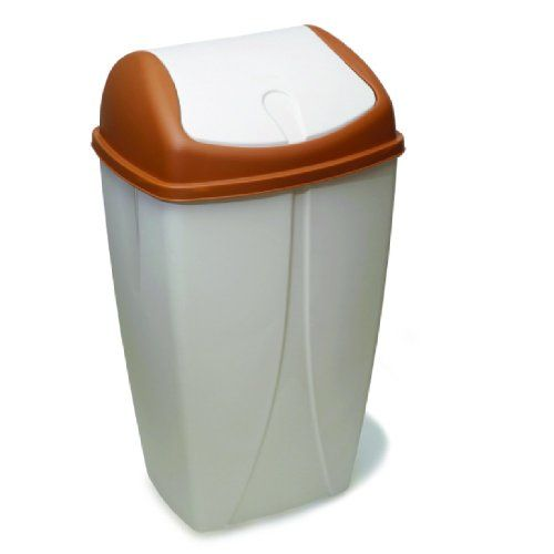 Garbage Can almond color garbage can with lid. Perfect for tight spaces. Swing-top lid. Durable and compact.  #sturdy_collection #Kitchen