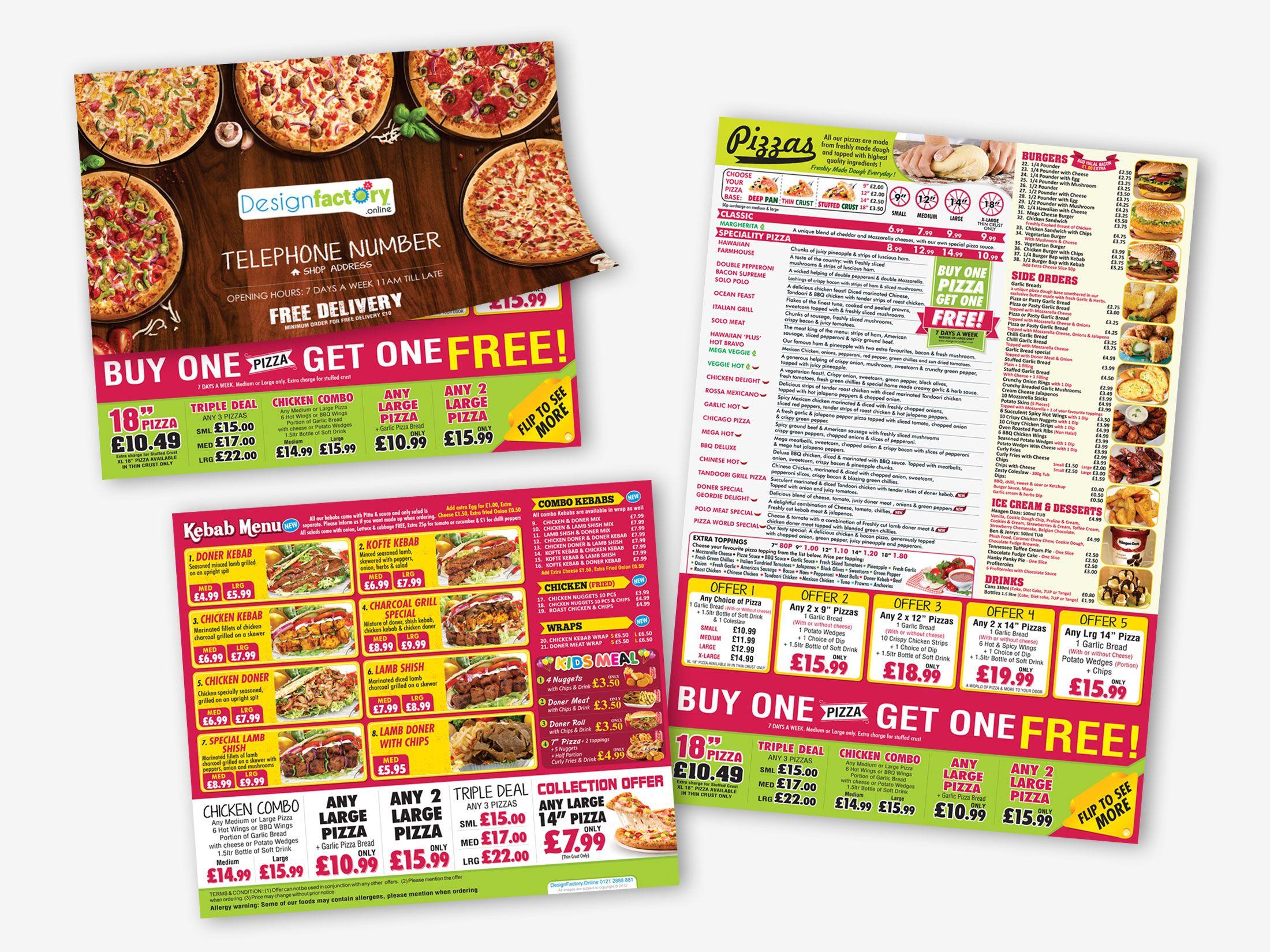 Pizza World Basingstoke Leaflet Pizza Menu Factory Design