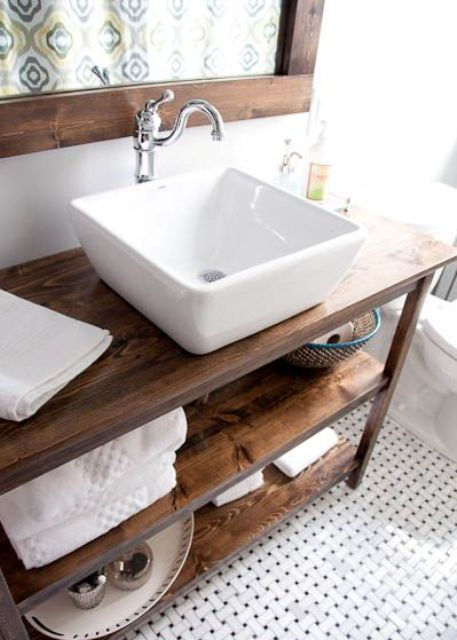 warm wood stained bathroom vanity with two open shelves bathrooms rh pinterest com