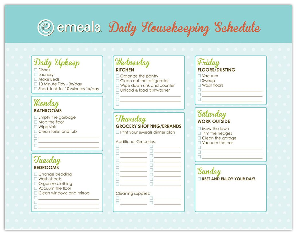 Printable Housecleaning Schedules