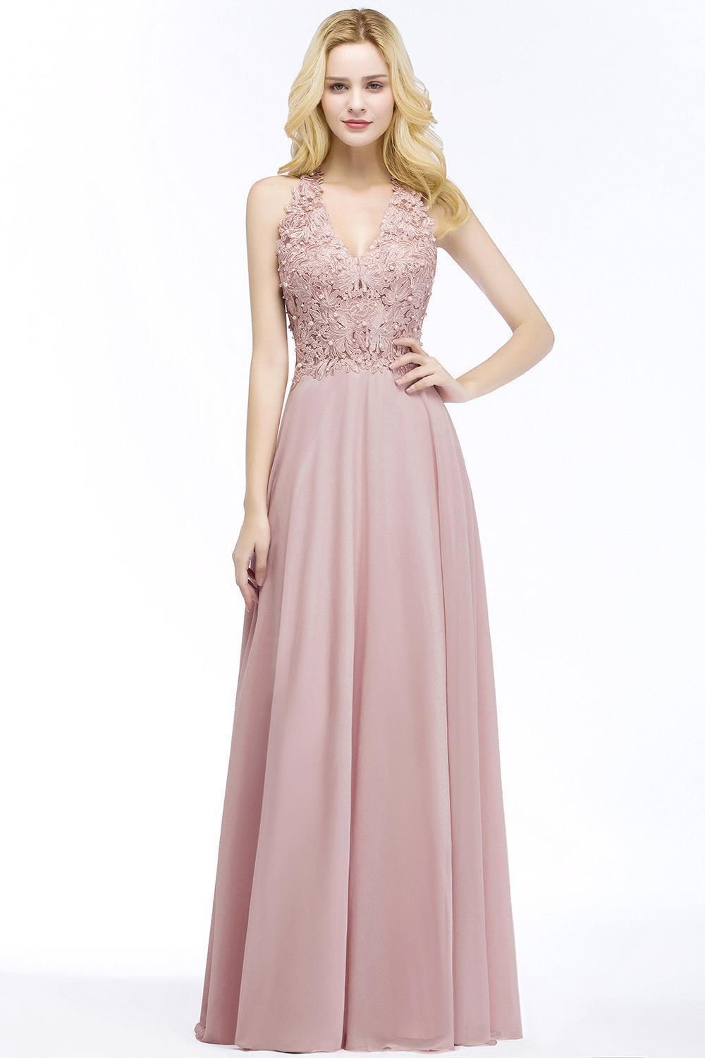 eveningdresses Real Pictures Blush Pink Long Evening Dresses V