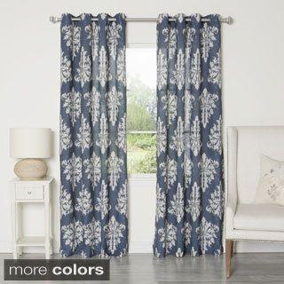 Aurora Home Ikat Linen Grommet Top 84 Inch Curtain Panel Pair