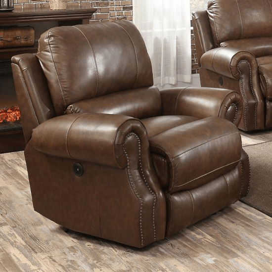 Terrific Crete Leather Power Recliner In Saddle Brown Recliners By Machost Co Dining Chair Design Ideas Machostcouk