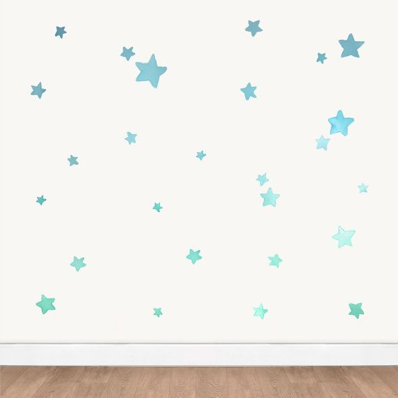Turquoise Blue Ombre Star Wall Decals Mint Gradient Watercolor
