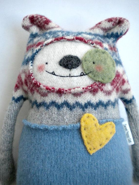 Dog Stuffed Animal Felted Sweater Wool Upcycled Recycled