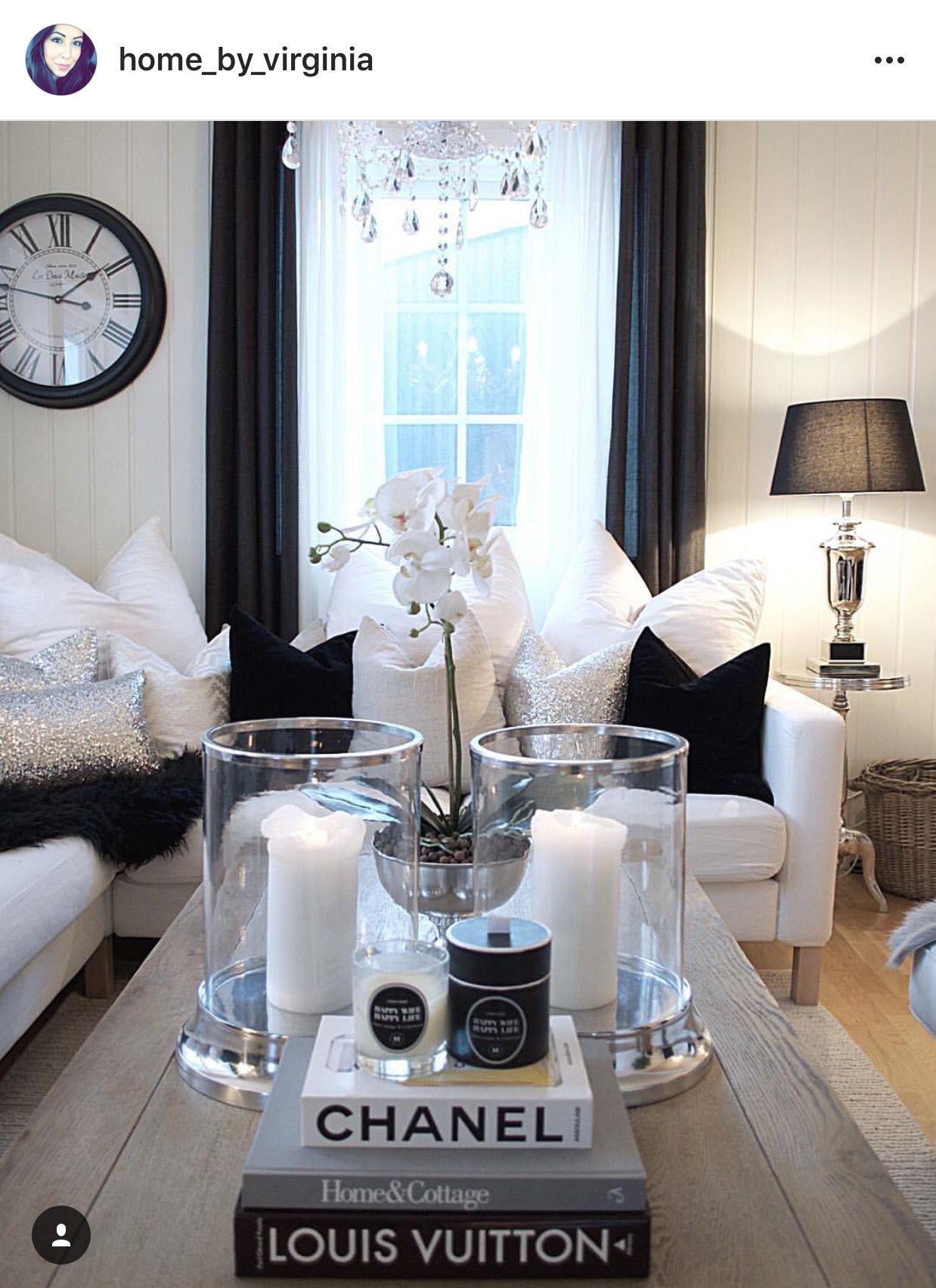 black white elegant livingroom silver coffeetable candles rh pinterest co uk