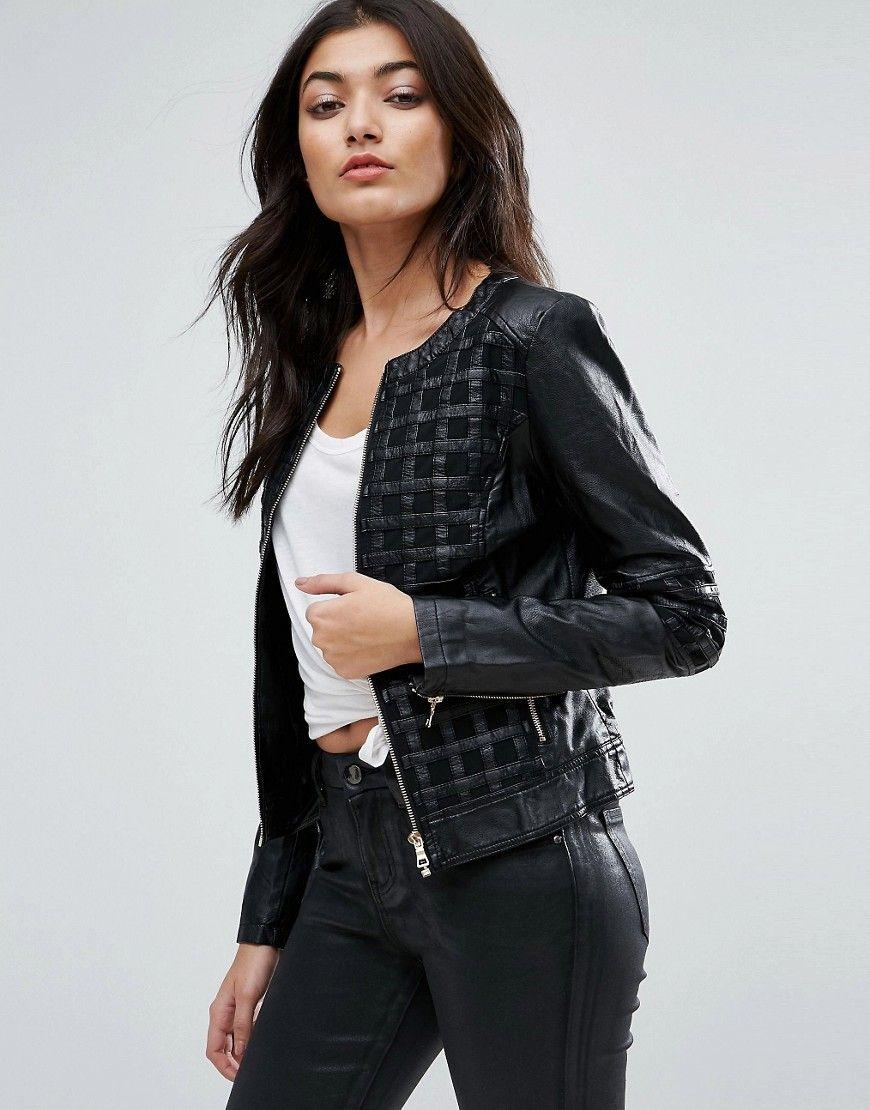 Chaqueta biker de efecto cuero con diseño enrejado de Jasmine. B iker  jacket de Jasmine 42bbcd6e990d