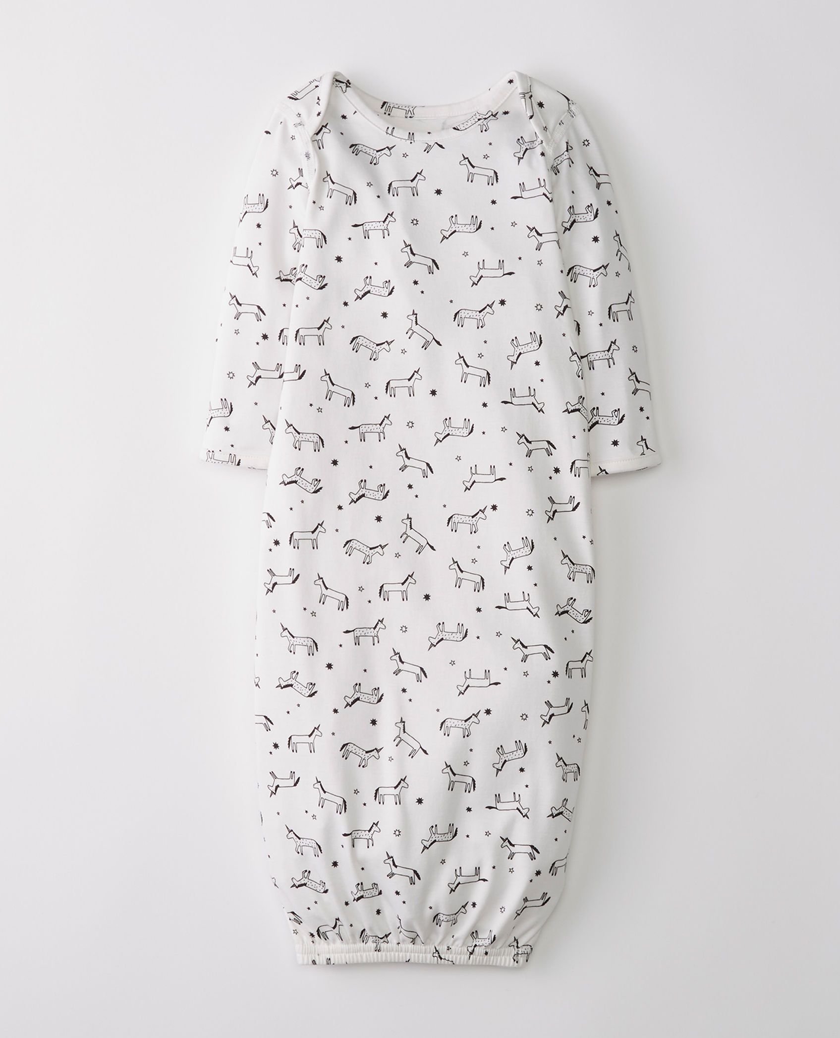 Little Sleeper Gown In Organic Pima Cotton In Unicorns Hanna