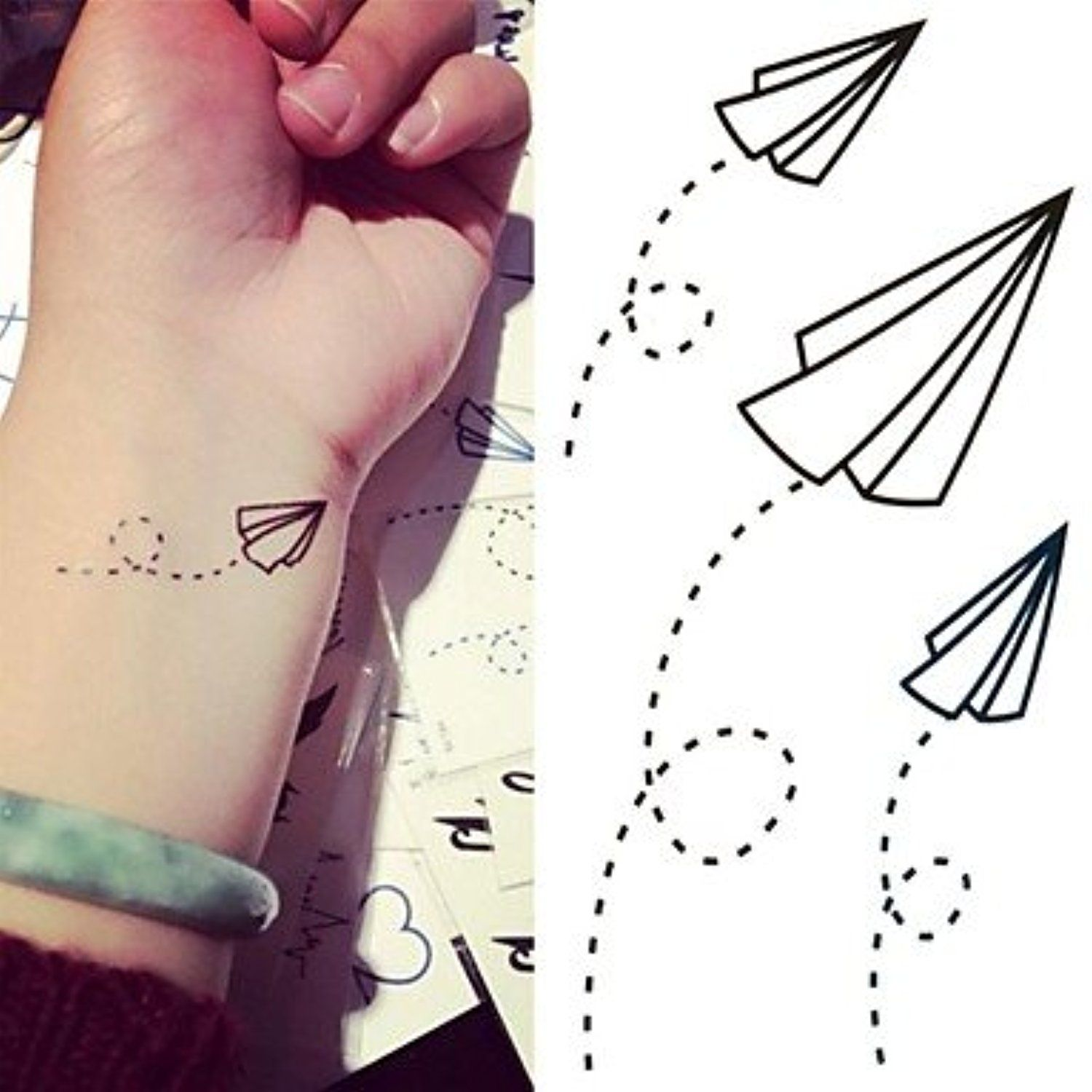 Hjlwst paper airplanes paper plane tattoo stickers temporary tattoos