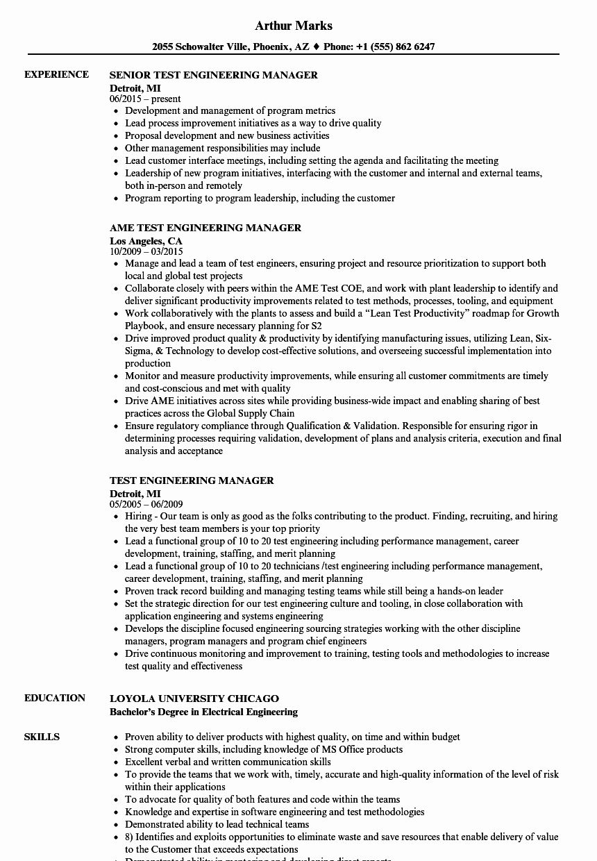 Engineering Manager Resume Examples Beautiful Test