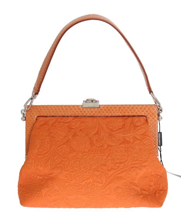 f5a6b0bb64  DolceGabbana  HandbagsShoulderBagsPurses Orange VANDA Snakeskin Brocade Crystal  Bag