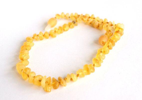 Raw Baltic Amber Baby Teething Necklace Lemon Color Amber Beads 12 99 Usd Baby Teething Necklaces Amber Teething Necklace Amber Baby