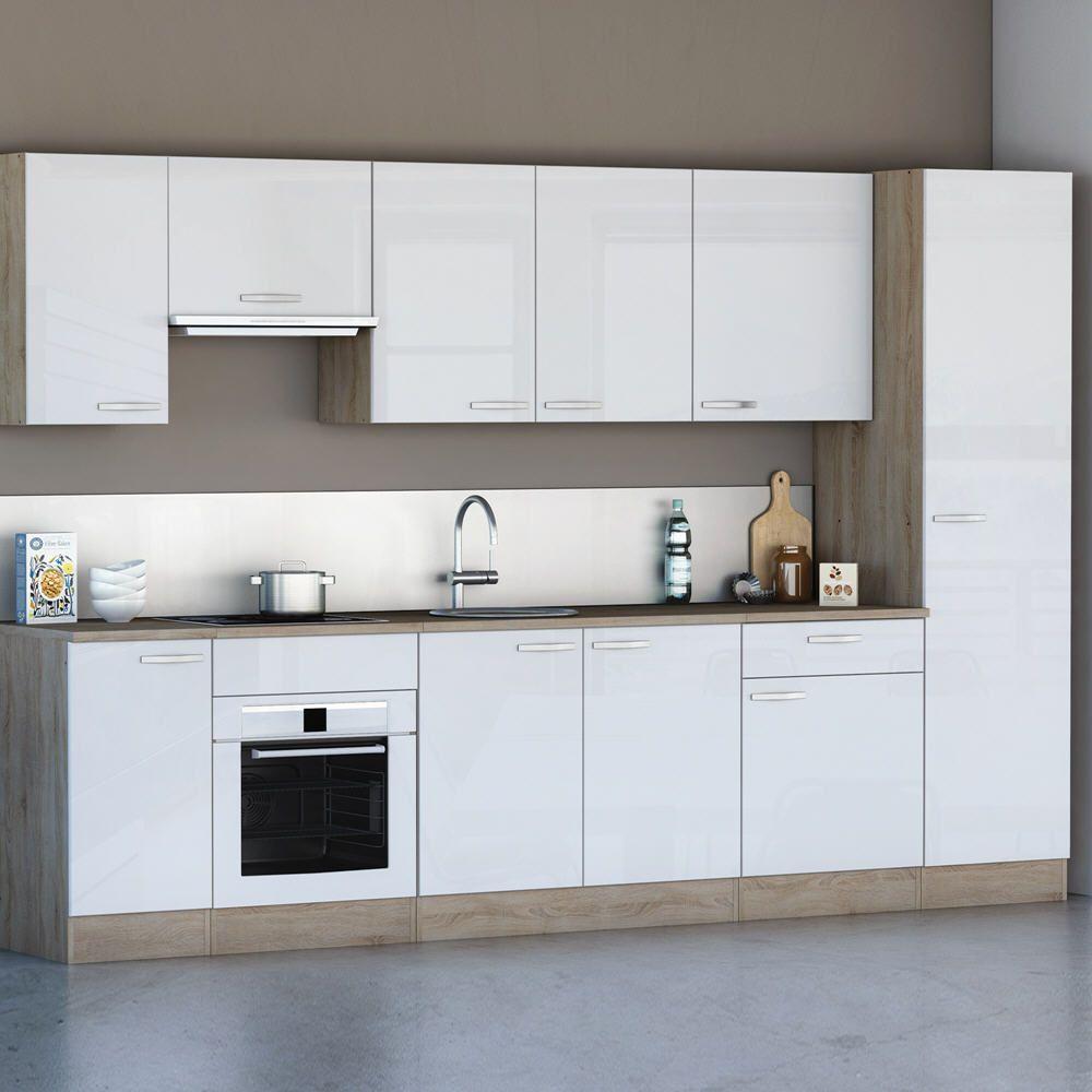 Cuisine aménagée CHANTILLY Longueur 310 cm Blanc prix promo Meuble