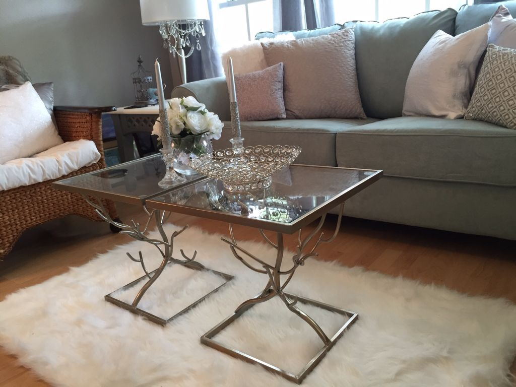 silver glass living room furniture%0A Brushed silver and glass tables