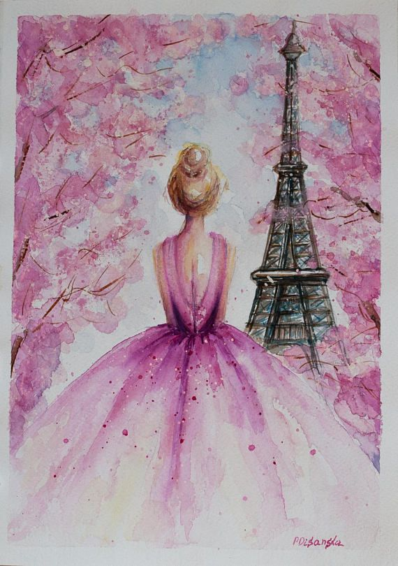Photo of Ballerina painting, Wedding gift, Eiffel Tower Decor, Eiffel Tower Paris, bride gift, Paris Watercolor, Princess decor, fashion illustration