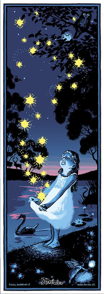 La Poesie Etoile Argent Sterntaler Affiche Nuit Freres Grimm Children Illustration Moon Illustration Fairy Tales