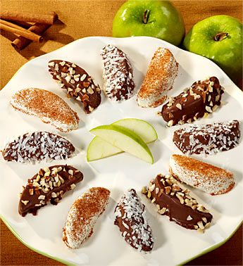 Caramel Apple slices dipped in carmel and chocolate (like
