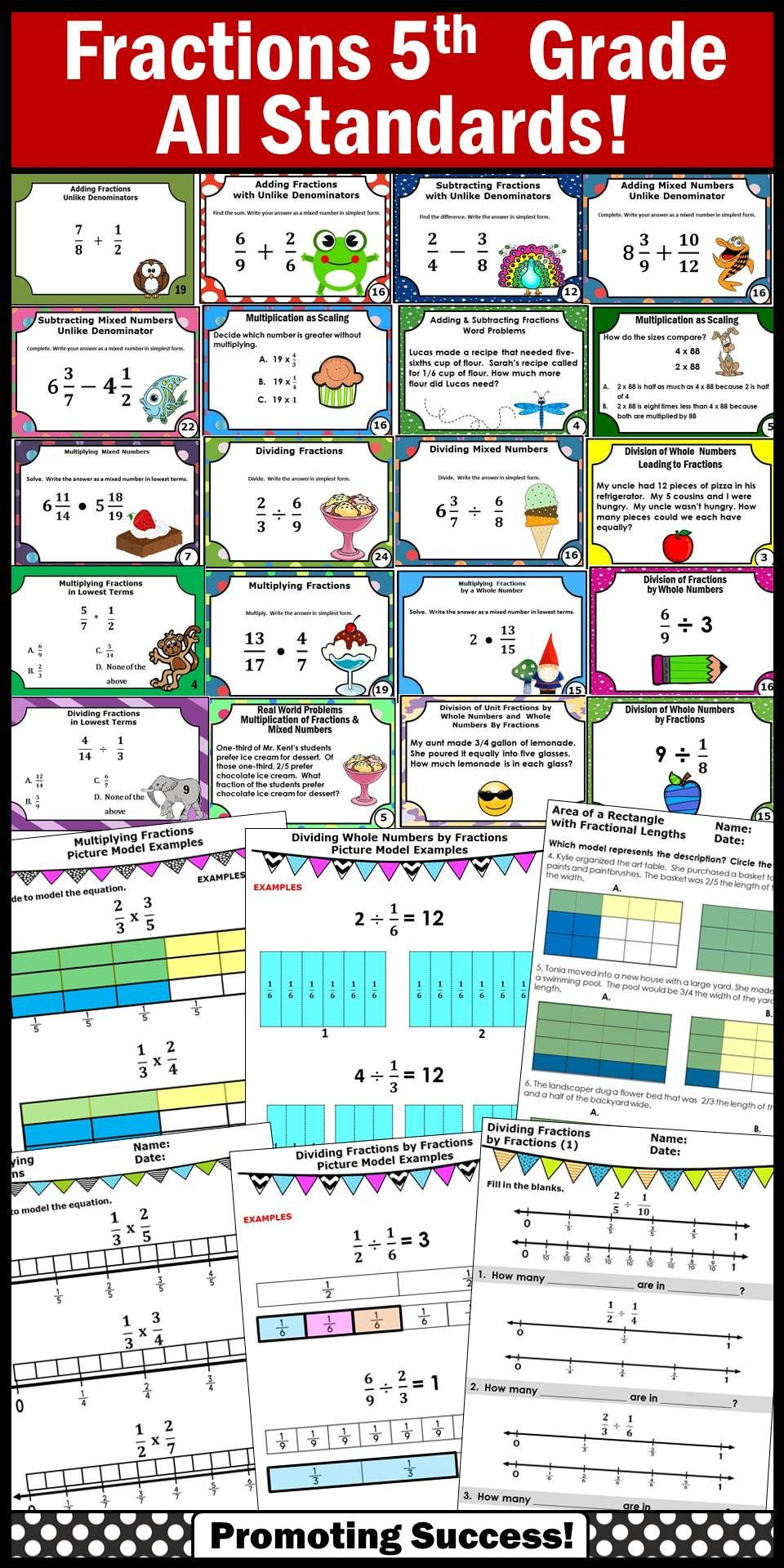 Fractions BUNDLE of Task Cards, Worksheets Common Core 5th