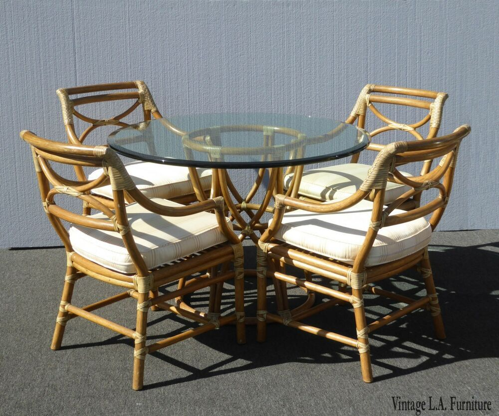 vintage mid century modern mcguire dining room table and four chairs rh pinterest com