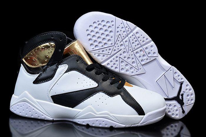 Womens Nike Air Jordan 7 Girls Champagne White Gold Black For Sale