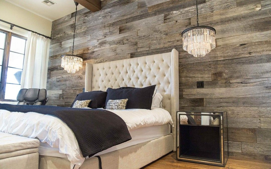 Pbw Tobacco Barn Grey Wood Wall Master Bedroom Rustic Master Bedroom Farmhouse Style Master Bedroom Master Bedrooms Decor
