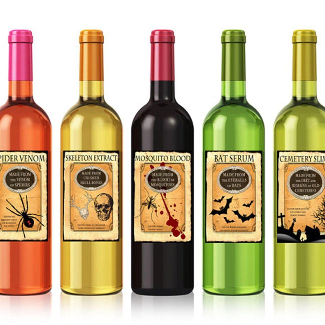 Printable Halloween Wine Labels, Vintage Halloween Labels
