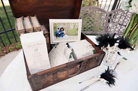 vintage wedding guest book table | Utah summer wedding : retro gift ...